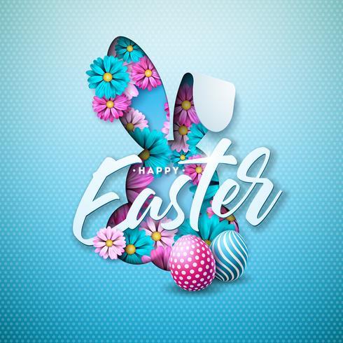 Feliz Páscoa Design de férias com ovo pintado, flor de primavera em silhueta de rosto agradável coelho sobre fundo azul claro