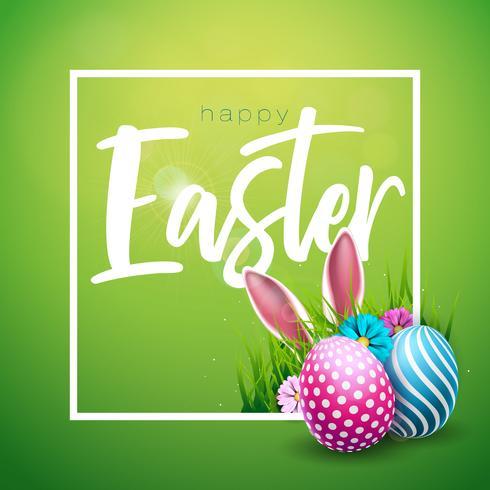 Vectorillustratie van Happy Easter Holiday met geschilderd ei, konijn oren en bloem op glanzende groene achtergrond. Internationaal vieringsontwerp met typografie voor wenskaart, feestuitnodiging of promobanner.