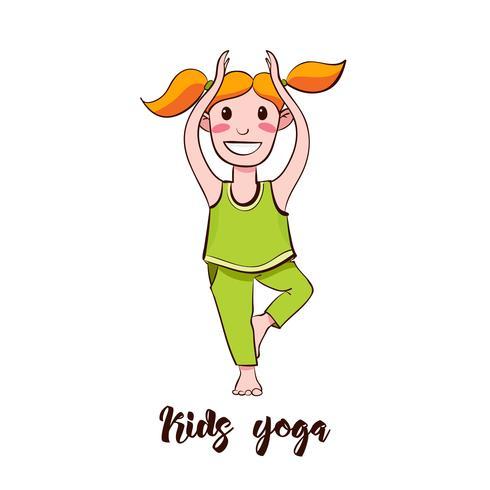 Muchacha de la yogui que se coloca en una actitud del árbol. vector