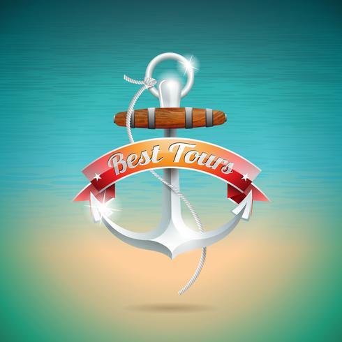 Vector zomer vakantie ontwerp met anker op blauwe zee achtergrond.