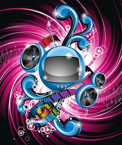 Vector Illustration auf einem Medien- und Filmthema mit futuristischem Fernsehen
