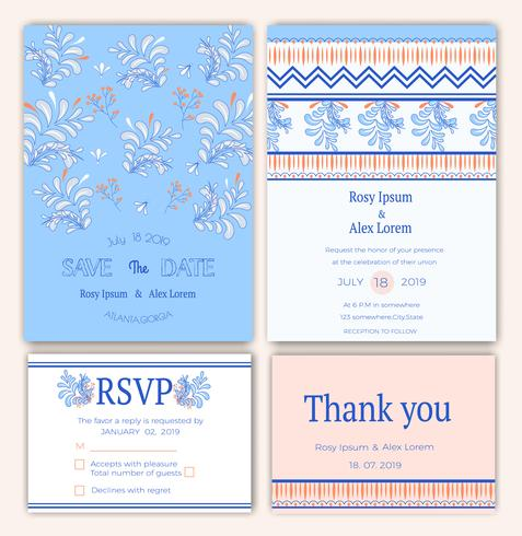 Wedding card on lined pattern background in colorful theme