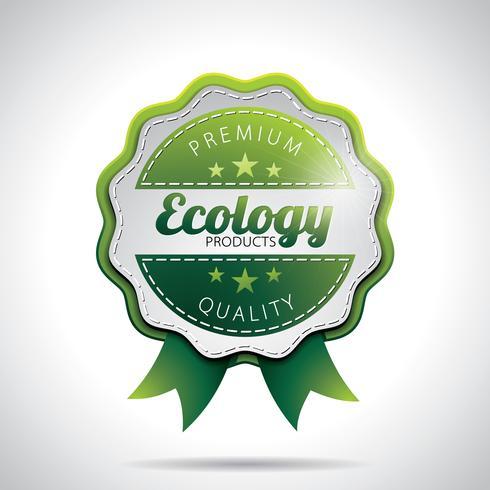 Illustrazione di etichette di prodotto di ecologia di vettore con design in stile lucido su uno sfondo chiaro. EPS 10.