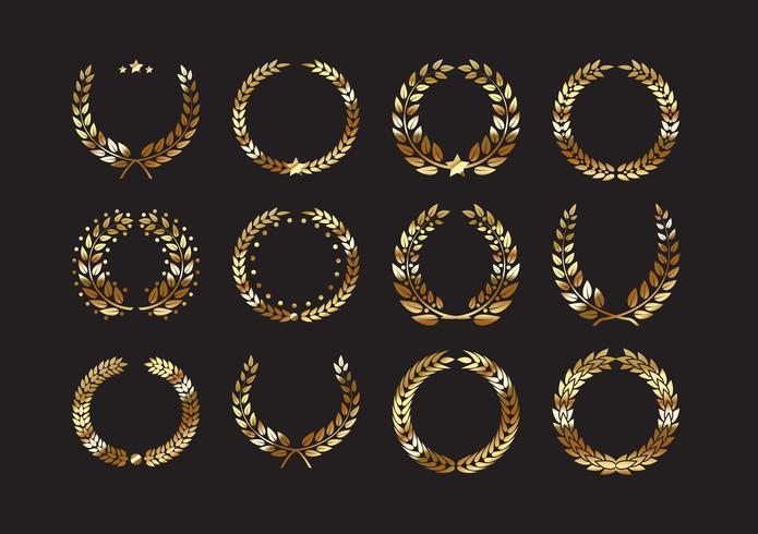 Conjunto de laurel de oro premio coronas y ramas.