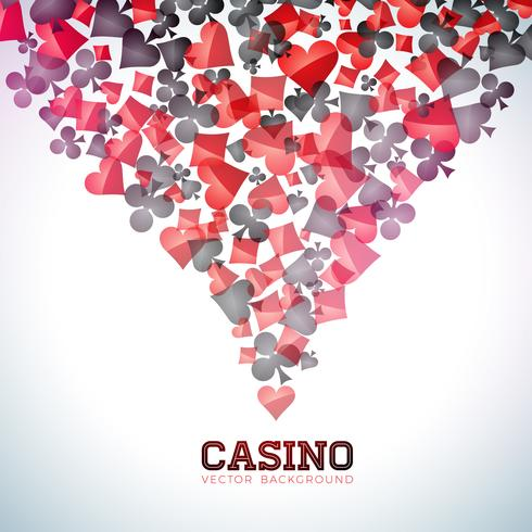 Casino playing card symbols on white background