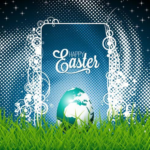 Easter illustration with shiny globe-egg