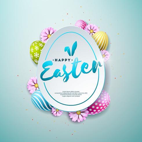 Illustrazione vettoriale di felice vacanza di Pasqua con fiori dipinti e primavera su sfondo blu lucido. Design internazionale delle celebrazioni