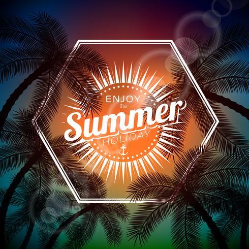 Ilustração tipográfica Vector dizer Olá para o verão com plantas tropicais e luz solar