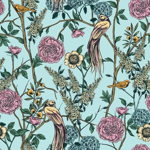 Jardín victoriano. Patrón floral sin fisuras Ilustracion vectorial