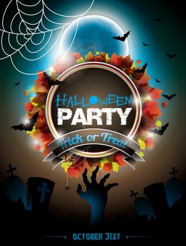 Vectorillustratie op een Halloween-Zombiethema op donkere achtergrond.