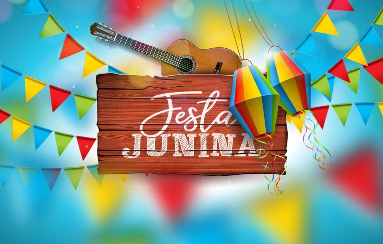 Festa Junina Illustration with Acoustic Guitar, Party Flags, & Paper Lanterns