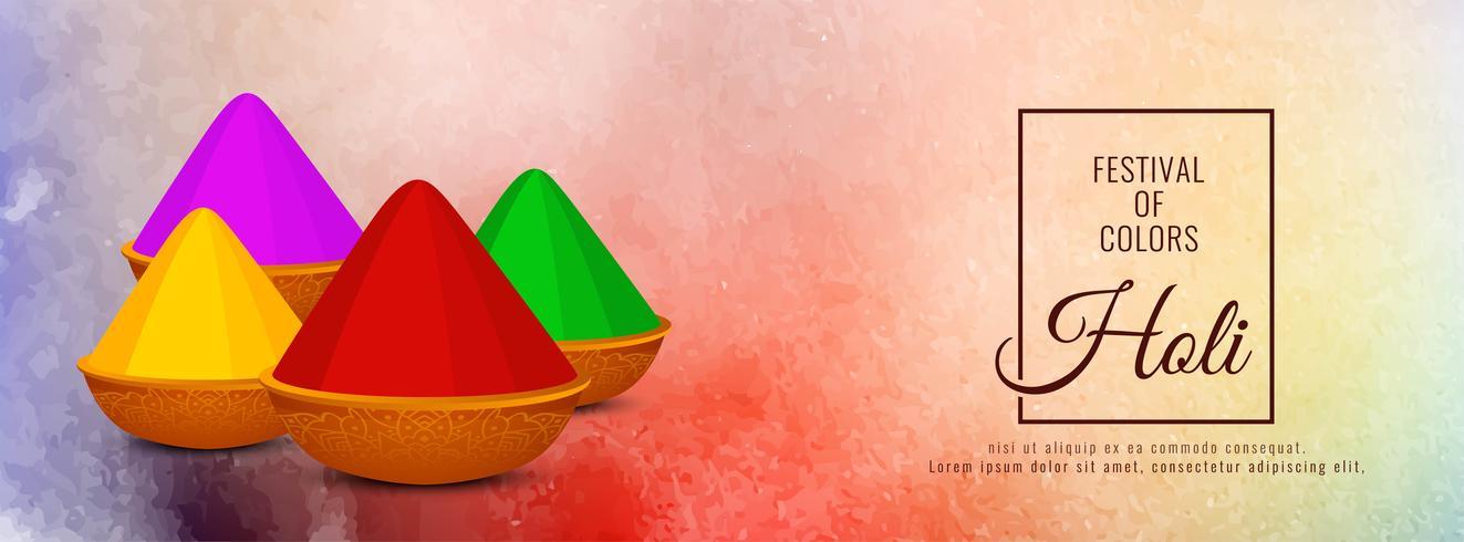 Abstract gelukkig Holi kleurrijke festival spandoekontwerp