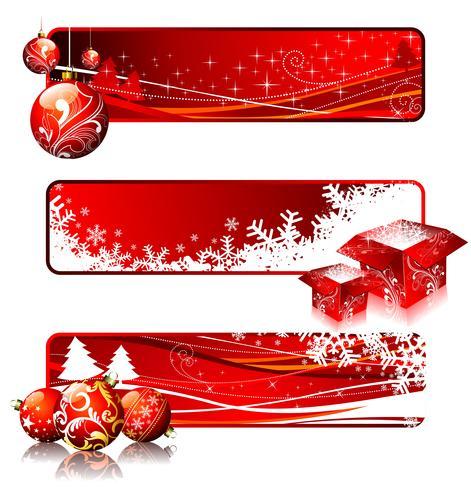 Tre illustrazioni di banner su un tema di Natale.
