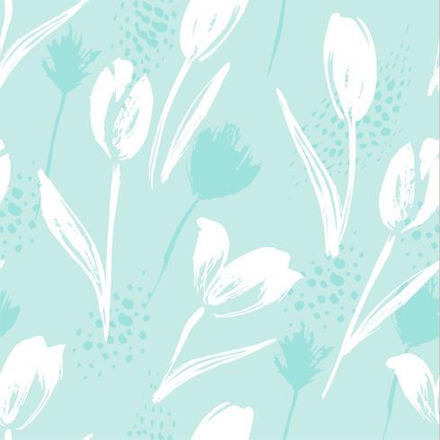 Tulipani senza cuciture floreali astratti del modello Strutture tridimensionali disegnate a mano.