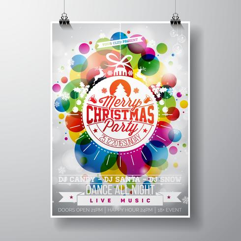 Illustration de joyeuse fête de Noël avec des dessins de typographie de vacances en boule de verre abstraite sur fond de couleur brillante.