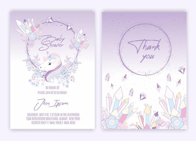 Unicorn blommig inredning baby shower inbjudningskort vektor