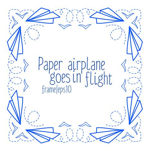 Frame with paper airplanes and flying vector