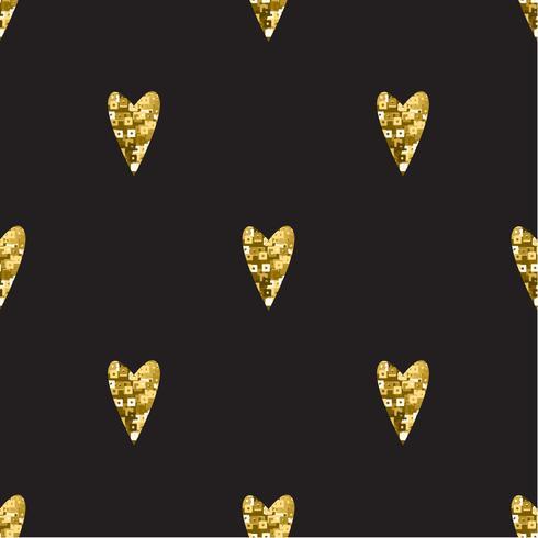 Padrão de ouro sem costura com corações.