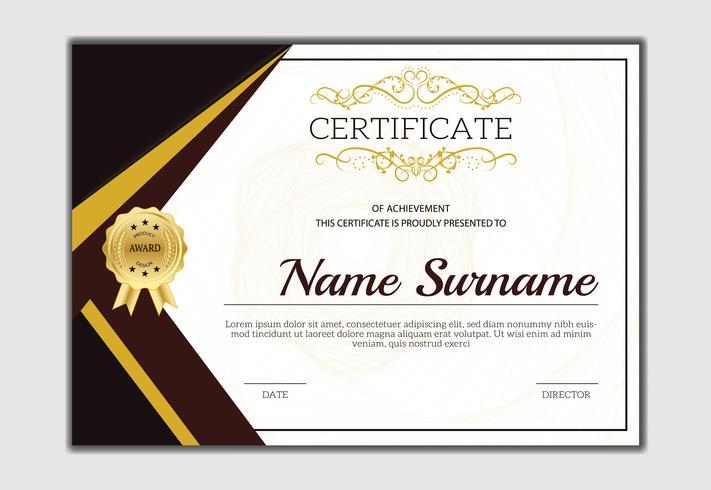 Vintage clásico de oro certificado de la plantilla de logro