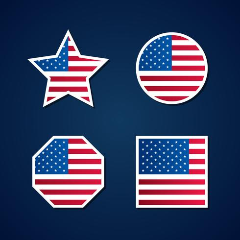 Usa Flag Symbols Element Set