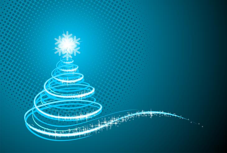 Vector Feiertagsillustration mit glänzendem abstraktem Weihnachtsbaum auf blauem Hintergrund.