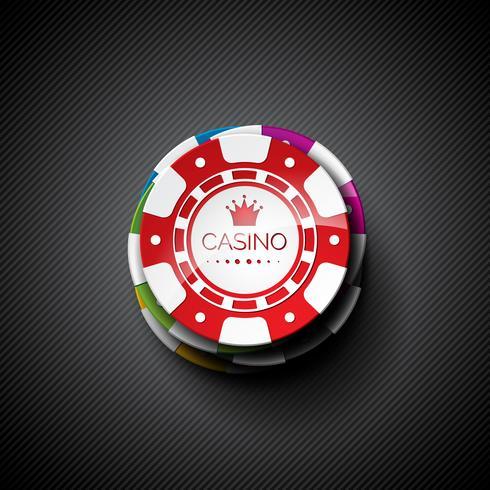 Vector a ilustração em um tema do casino com jogo de microplaquetas.