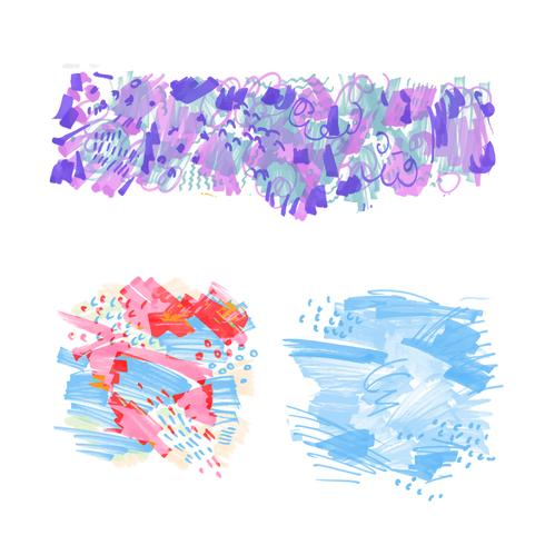 Hand-drawn marker stains.  vector