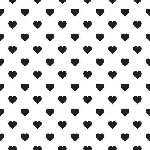 Monochrome seamless pattern with hearts