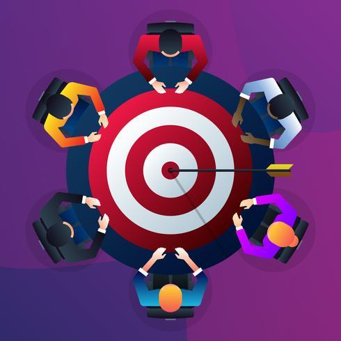 Trabajo en equipo para construir el éxito organizacional estableciendo la ilustración correcta del concepto de objetivo de marketing