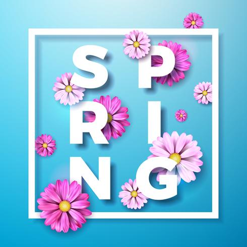 Illustration on a spring nature theme with colorful flowers