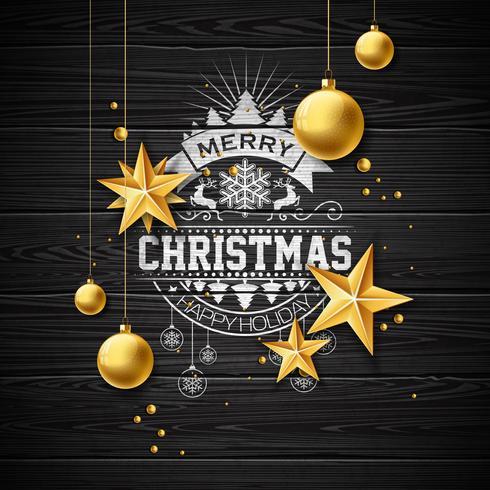 Merry Christmas Illustration on vintage wood Background