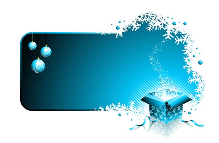 Vector Christmas illustration with gift box and glass balls on red background.