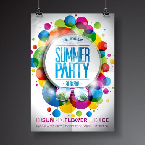 Vector Summer Party Flyer Design with typographic design
