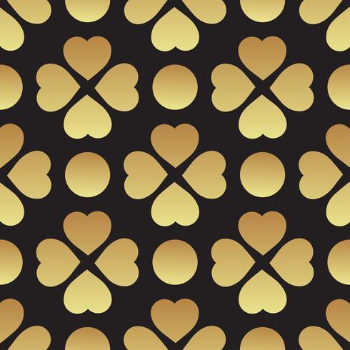 Patrón transparente dorado con hojas de trébol, el símbolo del Día de San Patricio en Irlanda