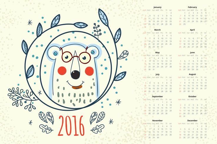Calendario 12 mesi vettore