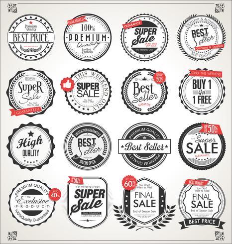 Retro vintage insignias y etiquetas colección vector