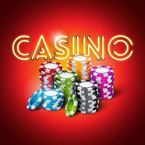 """""""Casino"""" Illustration med glänsande neonljusbokstäver vektor"""
