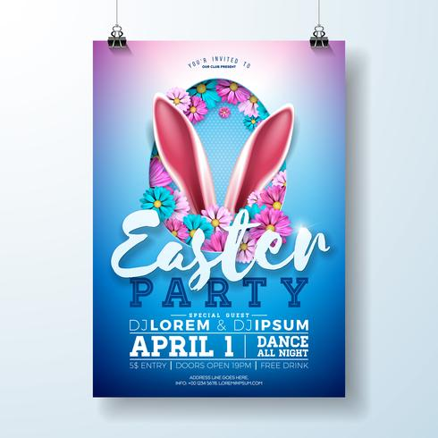 Easter Party Flyer Illustration with rabbit ears