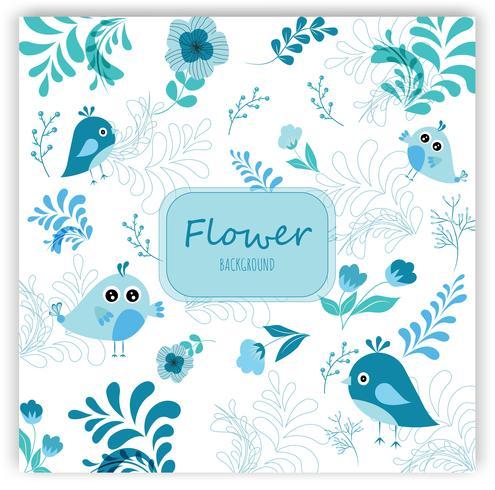 Flor y deja patrón botánico tropical.