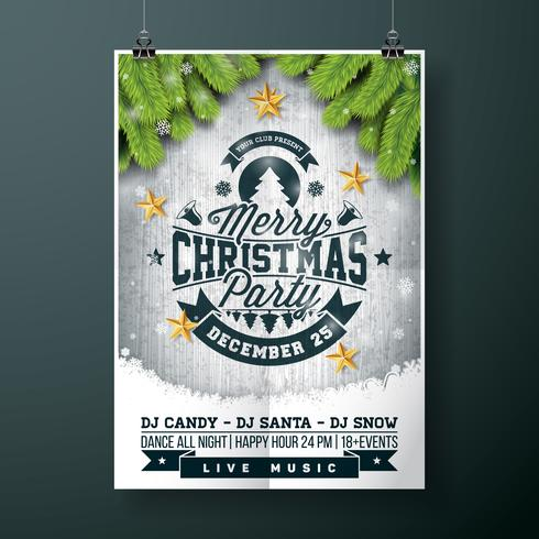 Merry Christmas Party design with gold stars vector