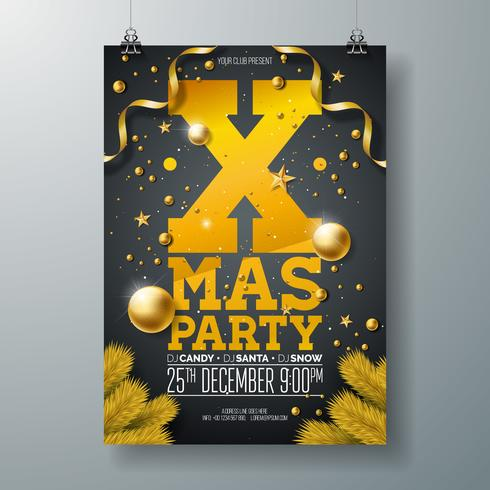 Christmas Party Flyer Design with Ornaments, & Pine Branches