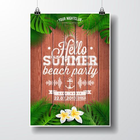 Vector Hallo zomer Beach Party Flyer illustratie met tropische planten en bloemen.