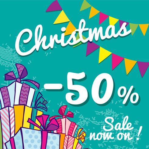Luminoso banner di vendita di Natale con scatole di regali vettore
