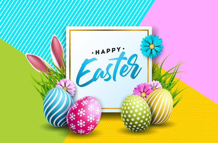 Illustration av lycklig påskferie med målade ägg vektor