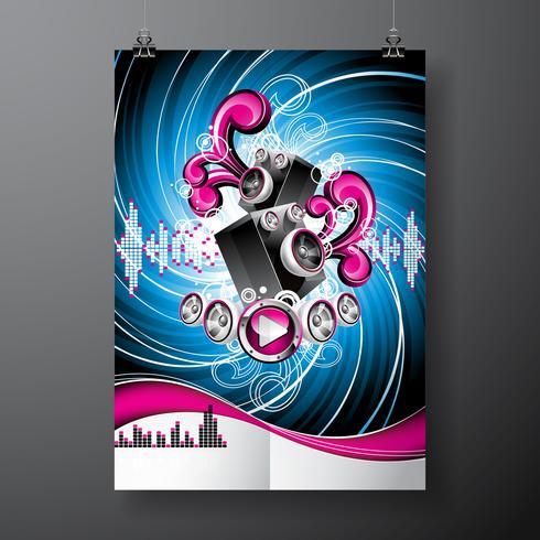 Illustration vectorielle sur un thème musical avec des haut-parleurs sur fond grunge abstraite.