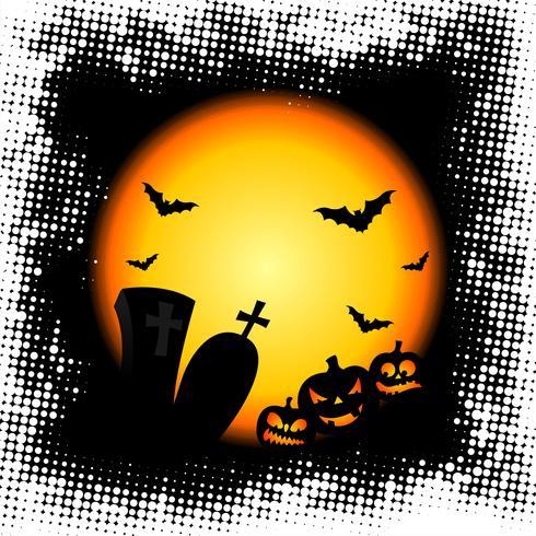 illustration vectorielle sur un thème d'halloween avec des citrouilles