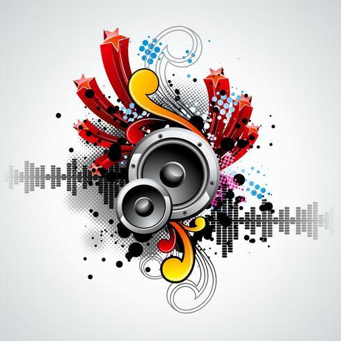 illustrazione vettoriale per un tema musicale con altoparlanti e palla da discoteca