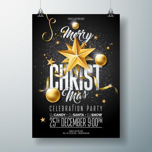 Ilustración de feliz Navidad fiesta Flyer con adornos de oro