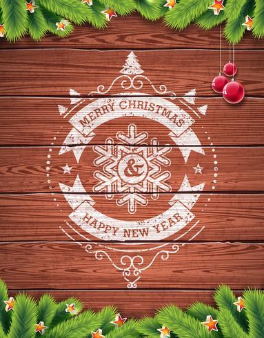 Design tipografico vintage buon Natale e felice anno nuovo verniciato con palla di vetro rossa vettore