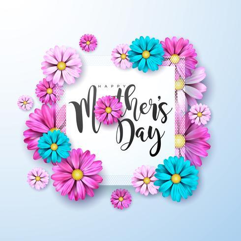 Lycklig mors dag hälsningskort med rosa och blå blommor